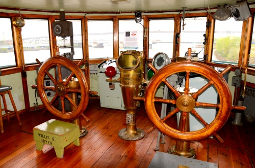 Pilot House or Bridge and the various pieces of Steering and Navigation Equipment