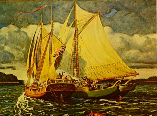 Artistic Interruption of First Naval Battle of American Revolution -- HMS Margaretta portside, Transport Unity starboard.