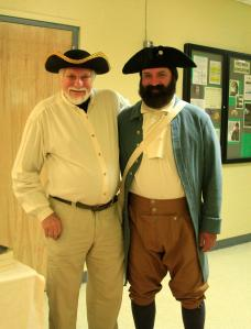 Chris Sprague, the Jeremiah O'Brien reenactor and me -- Photo by Marian Moore Lewis